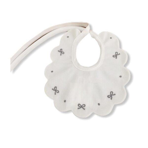 Little Bear bavaglino per neonato bianco con ricami in grigio