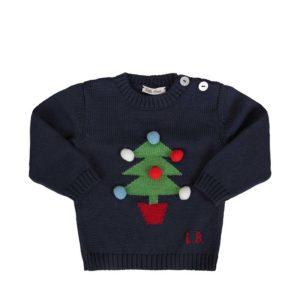 Little Bear Maglione Blu Con Albero Di Natale