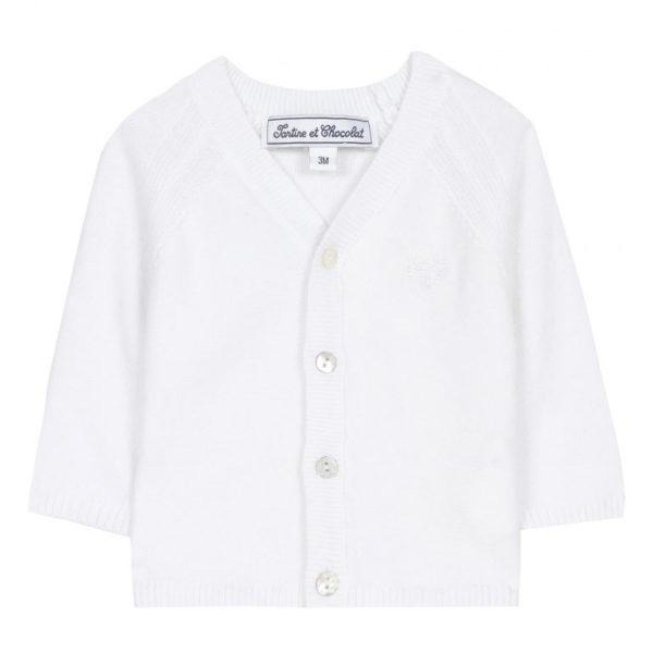 tartine et chocolate-outlet-bambini-cardigan-blanc-en-coton-et-ecusson-tc