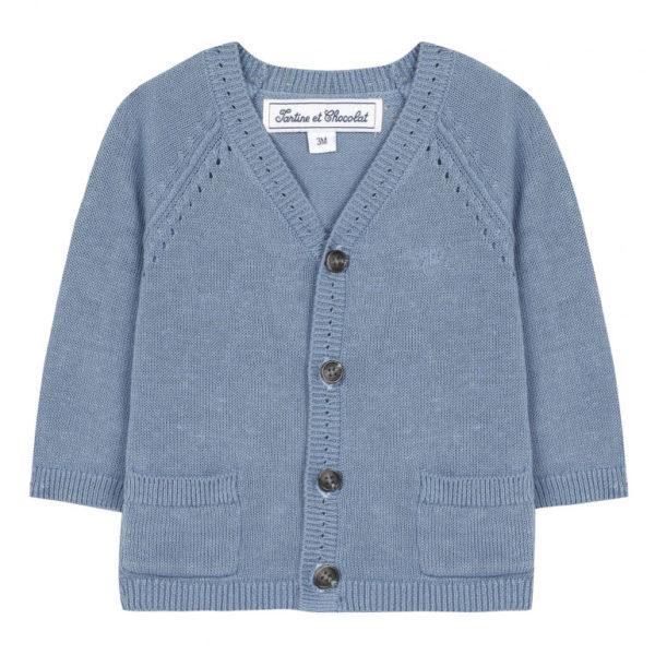 tartine et chocolate-outlet-bambini-cardigan-bleu-nuage-en-coton-lin