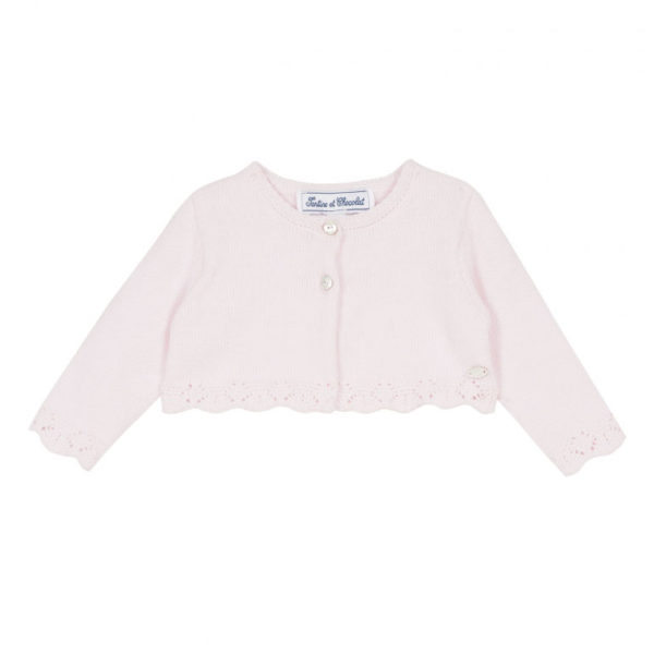 tartine et chocolate-outlet-bambini-cardigan-court-rose-pale-tricot