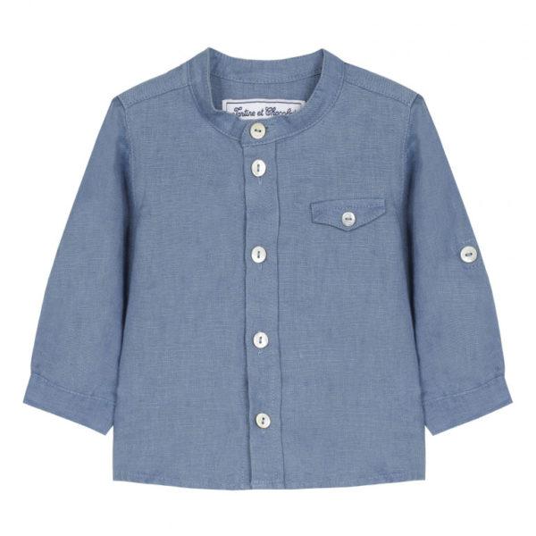 tartine et chocolate-outlet-bambini-chemise-tunisienne-bleu-nuage-en-lin