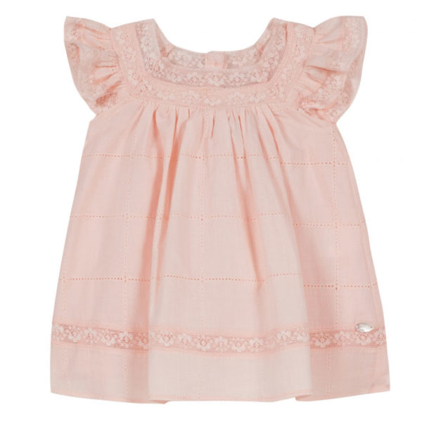 tartine et chocolate-outlet-bambini-robe-rose-nude-fluide-voile-et-dentelle