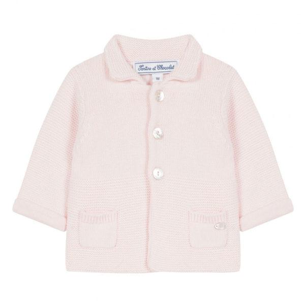 veste-rose-pale-maille-tricotee