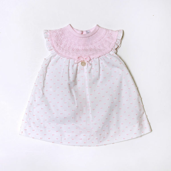 Abbigliamento-bambini-Martin-Aranda-abitino-bimba-rosa-pois-bianchi
