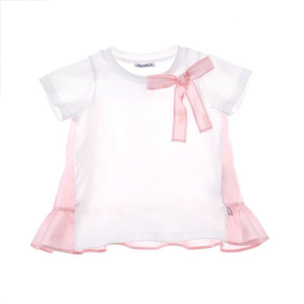 Abbigliamento-bambini-simonetta-magliettina-bianca-e-rosa