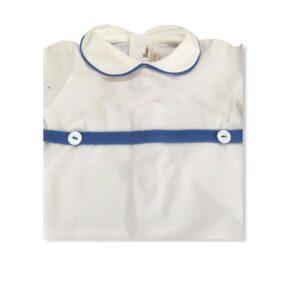 Little Bear Dettagli Pagliaccetto Bianco E Blu Per Neonati