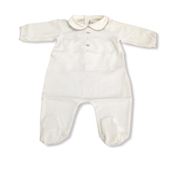 Little Bear tutina per neonato bianca con dettagli grigi