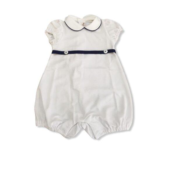 Little bear pagliaccetto bianco con dettagli blu per neonati