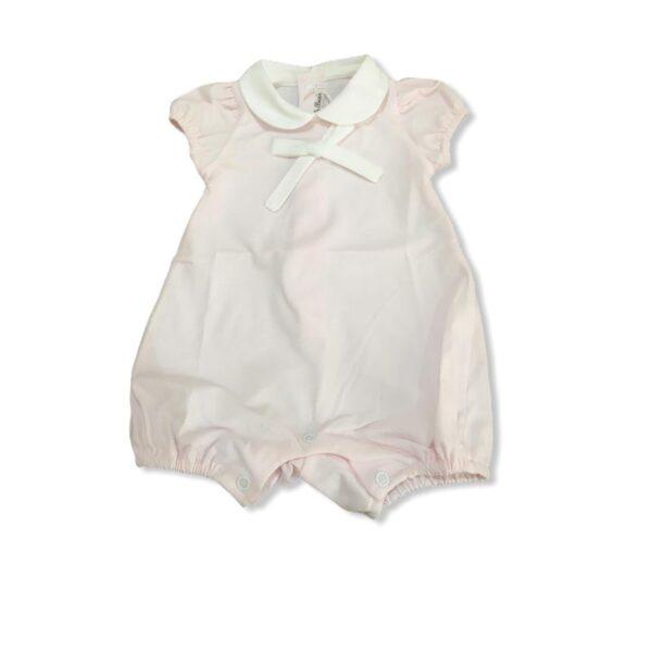 Little Bear pagliaccetto rosa per neonati con dettagli in bianco