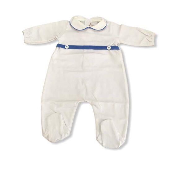 Little Bear tutina neonati bianca con dettagli blu