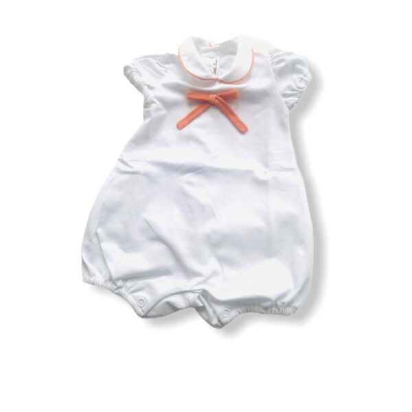 Little Bear pagliaccetto bianco con dettagli arancio per neonato