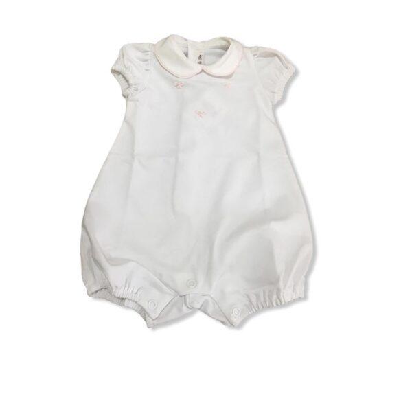 Little Bear pagliaccetto bianco con dettagli in rosa per neonata