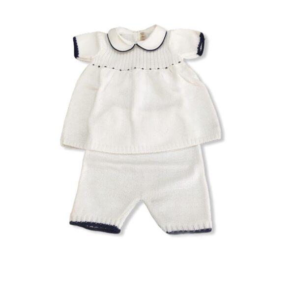 Little Bear vestiti per neonati completino bianco con dettagli blu