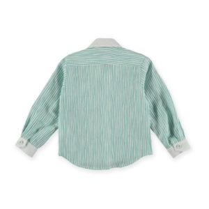 Pan Con Chocolate Abbigliamento Online Camicetta Verde A Righe Bianche
