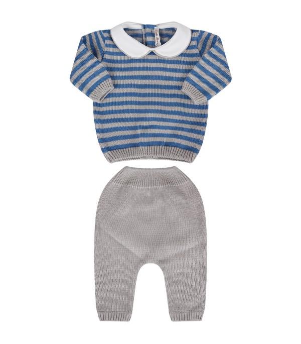 Little Bear completino a righe blu e grigio per neonato