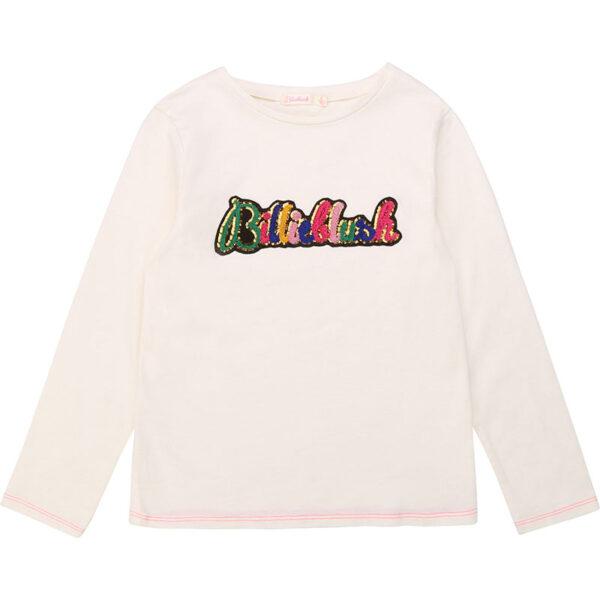 Billieblush abbigliamento bambina maglia bianca con scritta