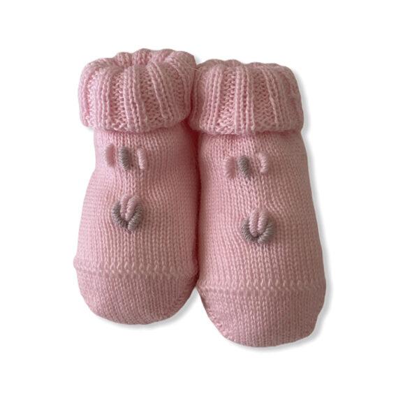 Baby Lord babbucce rosa per neonati ricamate