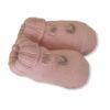 Baby Lord babbucce rosa per neonati ricamate vista laterale