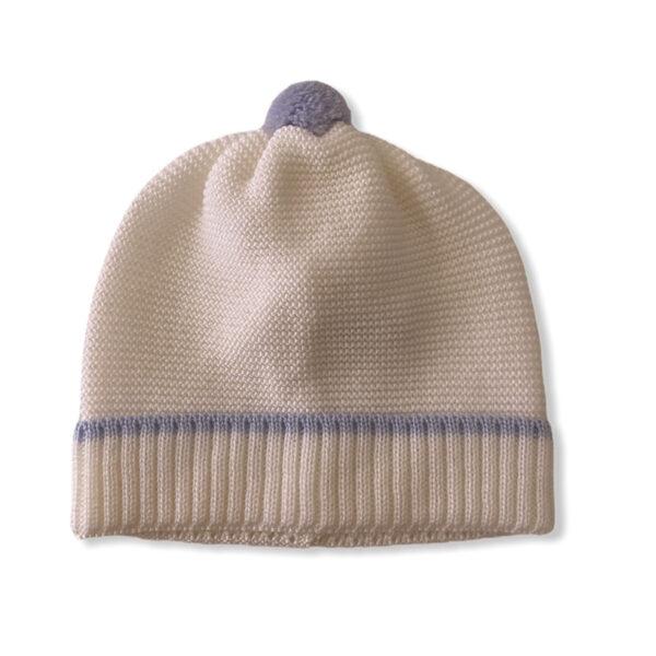 Baby Lord cappellino bianco azzurro per neonato con pompon azzurro