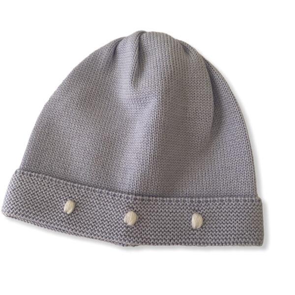 Baby Lord cappellino grigio azzurro per neonato con ricami bianchi