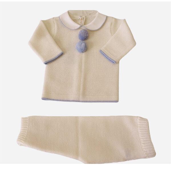 Baby Lord completino per neonati bianco con ricami e pompon azzurri