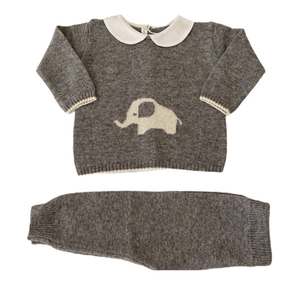 Baby Lord completino per neonati grigio con ricamo elefante