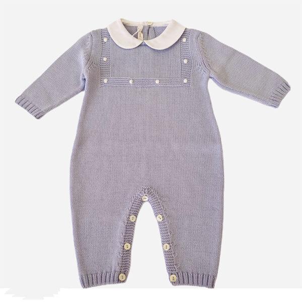 Baby Lord tutina per neonato azzurra con ricami bianchi e bottoncini