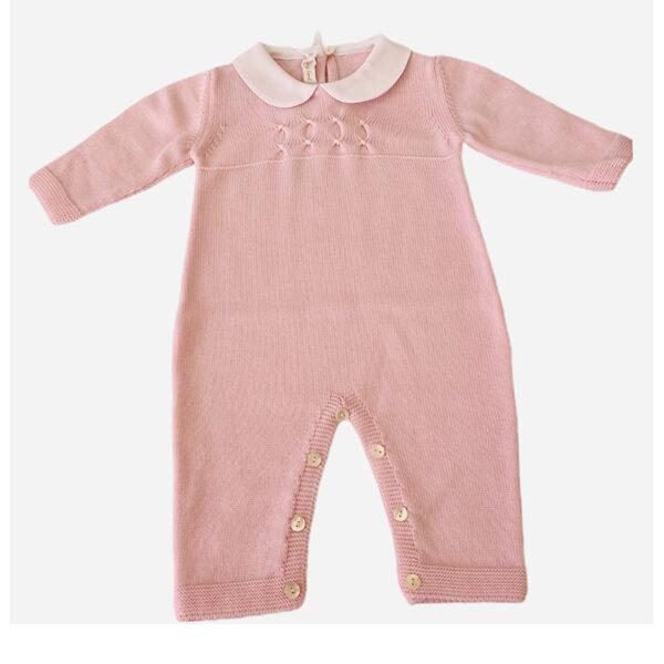 Baby Lord tutina per neonato rosa con colletto bianco