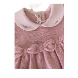 Baby Lord Vestitino Rosa Per Neonata Con Ricami Vista Dettagli