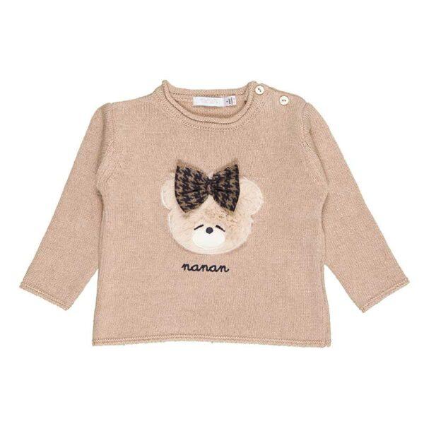 Nanan abbigliamento bambini maglia color beige con orsetto con fiocchetto ricamato
