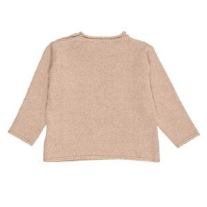 Nanan Abbigliamento Bambini Maglia Color Beige Con Orsetto Con Fiocchetto Ricamato Retro