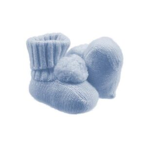 Nanan Outlet Babbucce Azzurre Con Pompon Per Neonato