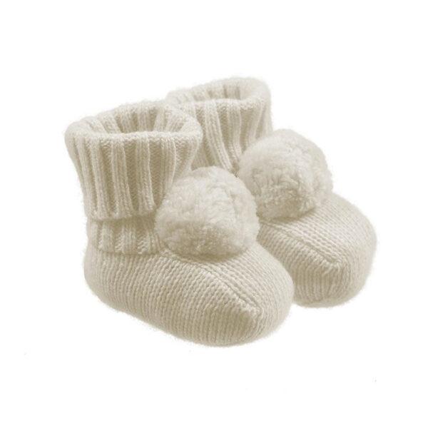 Nanan outlet babbucce bianche con pompon per neonato