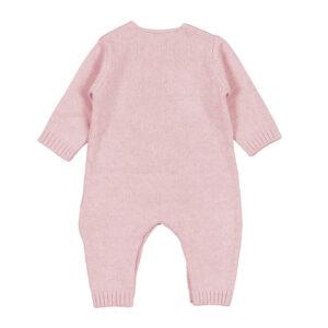 Nanan Outlet Tutina Per Neonata Rosa Con Orsetto Ricamato Vista Da Dietro