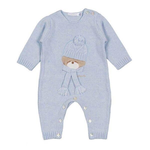 Nanan outlet tutina per neonato azzurra con orsetto ricamato
