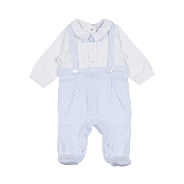 Nanan outlet tutina salopette per neonato azzurra con camicetta bianca