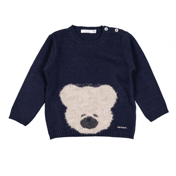 Nanan shop maglioncino blu con ricamo orsetto e bottoncini