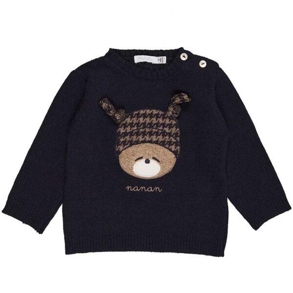 Nanan shop maglioncino blu con orsetto ricamato e bottoncini