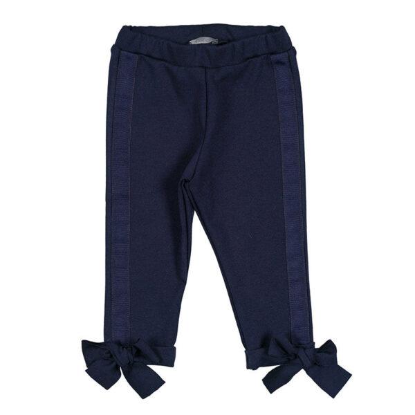 Nanan shop pantalone per bambina blu con fiocchi decorativi