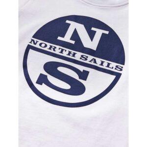 North Sails T-shirt Bianca Con Logo Centrale Blu