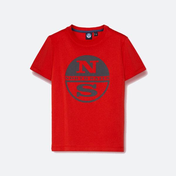North Sails maglia rossa con logo centrale grigio