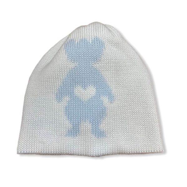 Little Bear cappellino bianco per neonato con orsetto azzurro