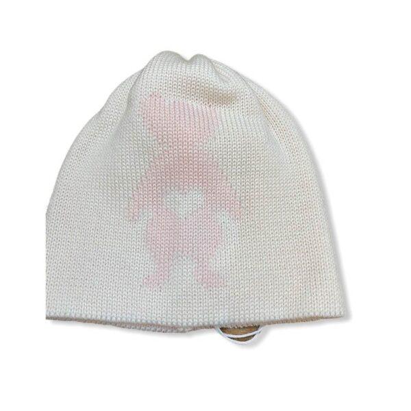 Little Bear cappellino bianco per neonato con orsetto rosa