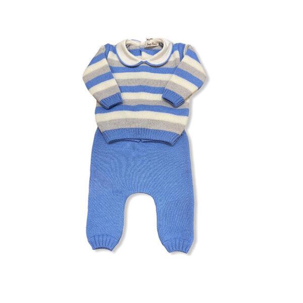 Little Bear completo per neonato a righe blu