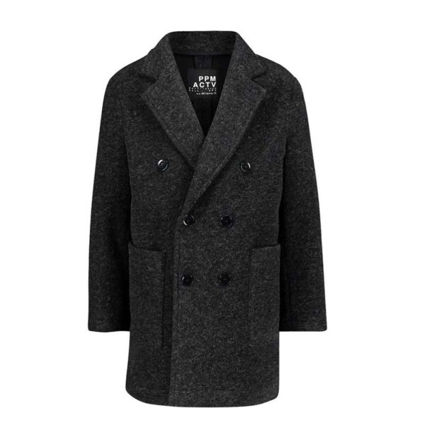 Paola Pecora cappotto grigio bottoni grandi