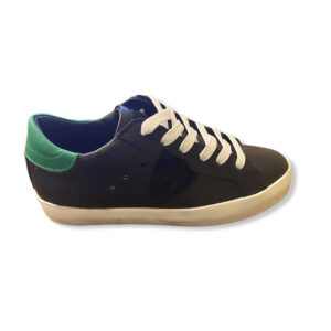 Philippe Model Scarpe Nere E Verdi Modello Sneakers Vista Laterale