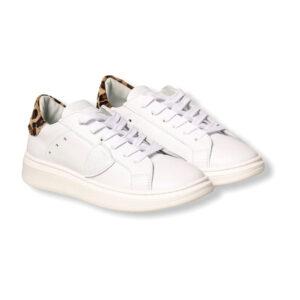 Philippe Model Scarpe Bianche Modello Sneakers Con Dettagli Leopardo Vendita Outlet