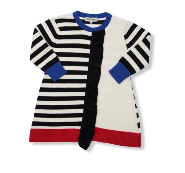 Simonetta outlet abito corto bambina bianco con collo e maniche in blu blu e bordo rosso