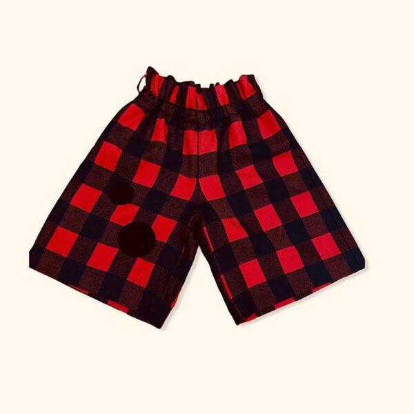 Simonetta pantaloni corti a scacchi rossi e neri donna